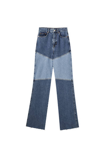High waist straight fit patchwork jeans