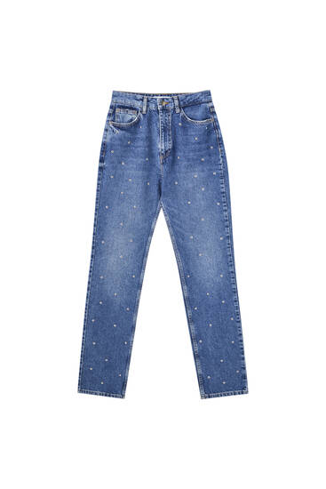 Straight-leg high waist studded jeans