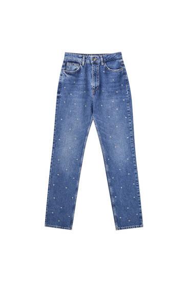 Ψηλόμεσο τζιν παντελόνι σε ίσια γραμμή με τρουκ