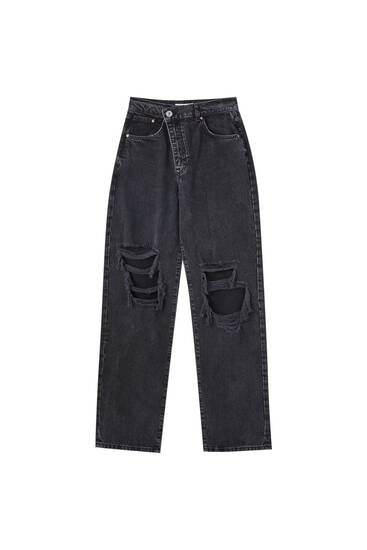Straight-leg high waist black jeans