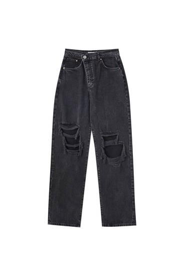 Jeans rectos negros tiro alto