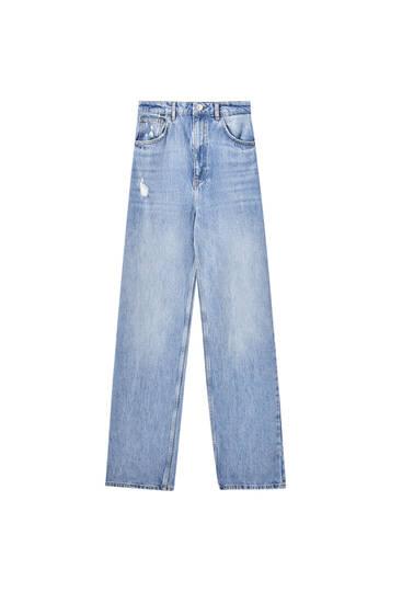 Straight-leg high waist yoke jeans