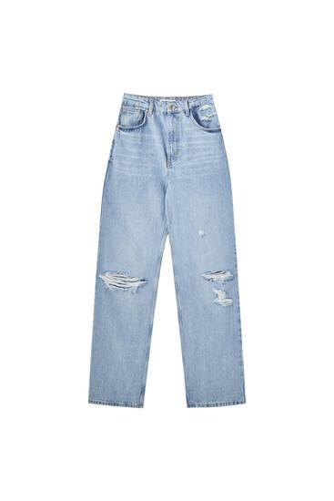Ψηλόμεσο τζιν παντελόνι σε ίσια γραμμή και με διακοσμητικό σχέδιο
