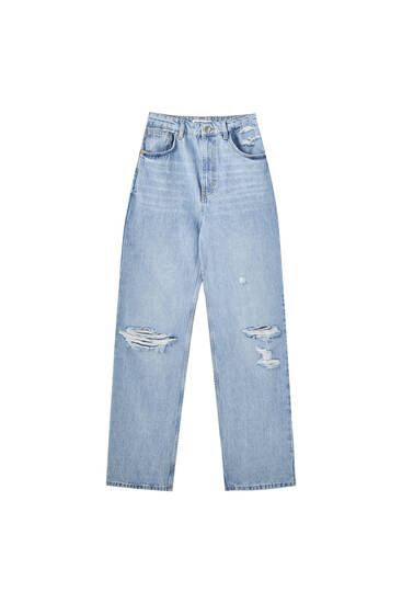 High-waist jeans with yoke detail - contains recycled cotton
