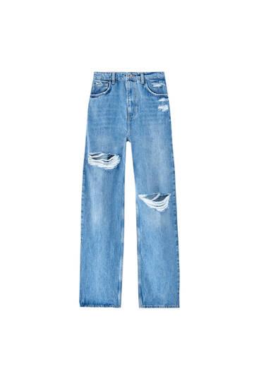 Jeans retas de cintura subida com peça superior - Contém algodão reciclado