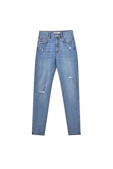 Jeans básicos tiro medio
