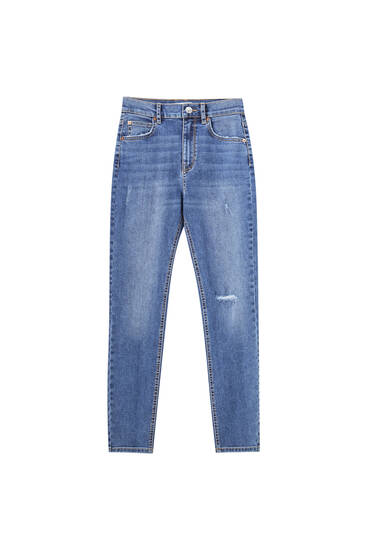 Basic mid-waist jeans - ecologically grown cotton (at least 50%)