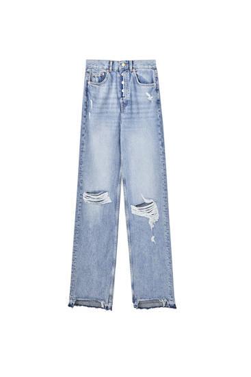 Jeans rectos tiro alto rotos