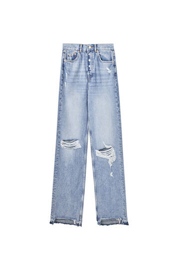 Straight-leg high waist ripped jeans
