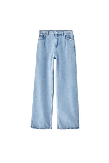 Straight-leg high waist darted jeans