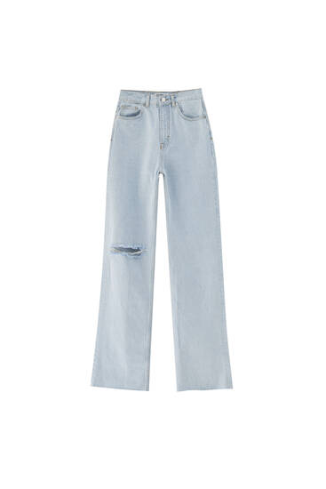 Jeans de corte reto e cintura subida