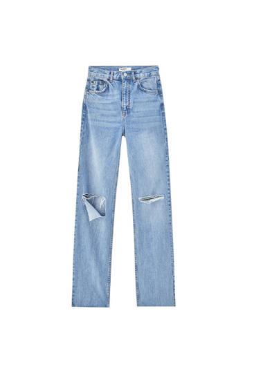 Straight-leg high waist jeans