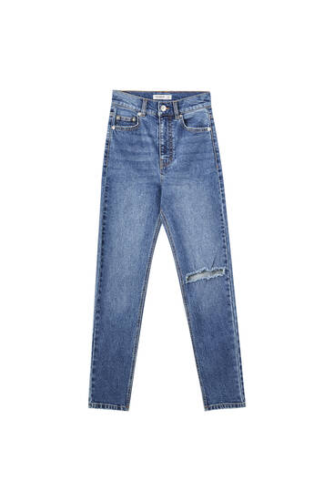 Super high-waisted slim fit mom jeans