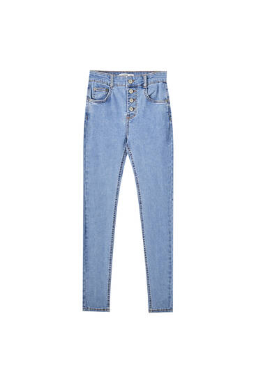 Push-up jeans with front buttons