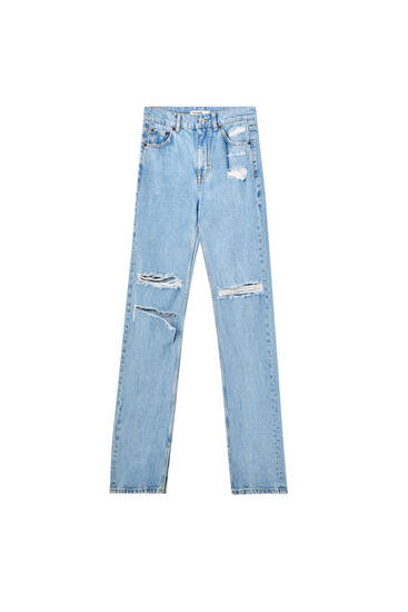 Straight fit jeans with opening details