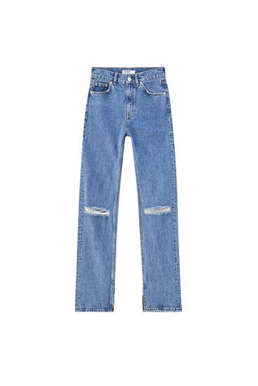 Straight fit jeans with vents