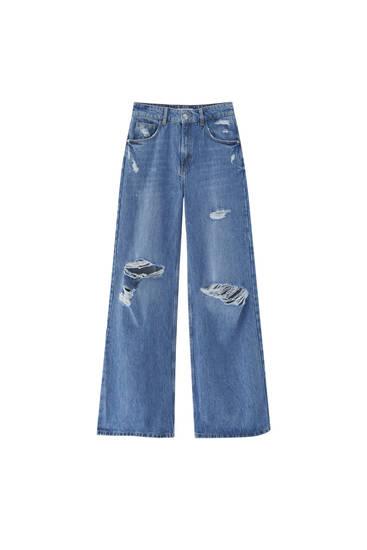 Ripped wide-leg high waist jeans