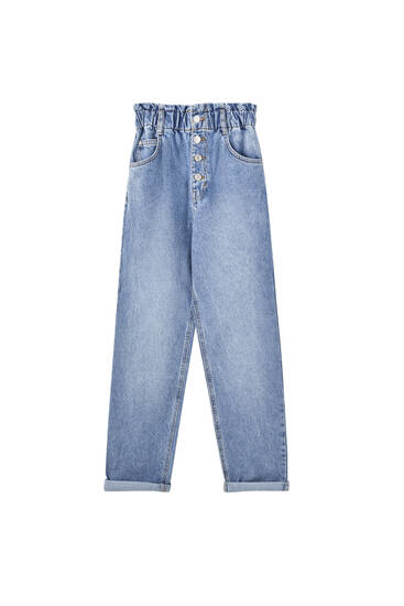 Slouchy jeans with front buttons