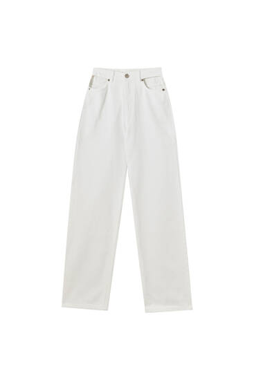 Super high-waisted straight fit jeans with cut out detail - contains recycled cotton