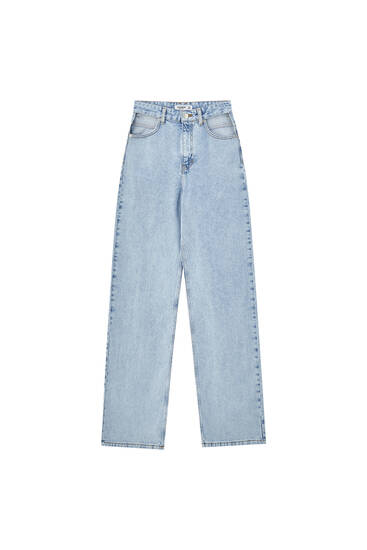 Super high-waisted straight fit cut-out jeans