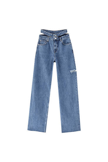 Straight fit jeans with cut-out detail - Contains recycled cotton