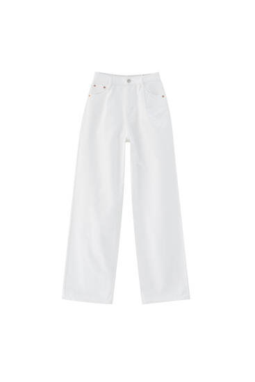 Straight white jeans with darts