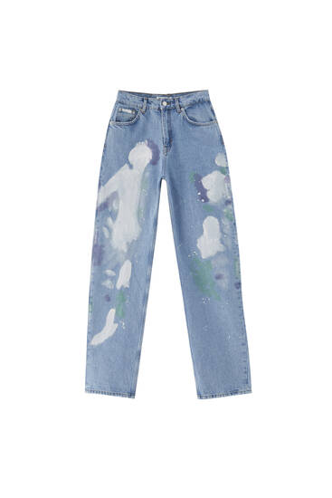 High waist paint splatter jeans