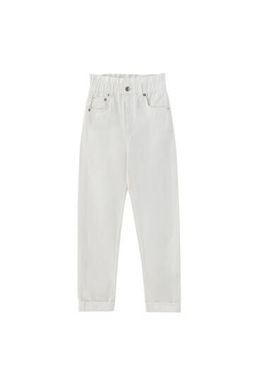 Wide-leg paperbag mom jeans - contains recycled cotton