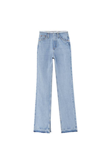 Flared jeans with waist cut detail- Contains recycled cotton