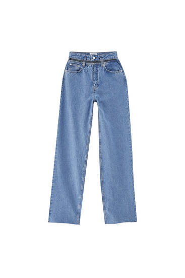 Straight-leg super high-rise jeans