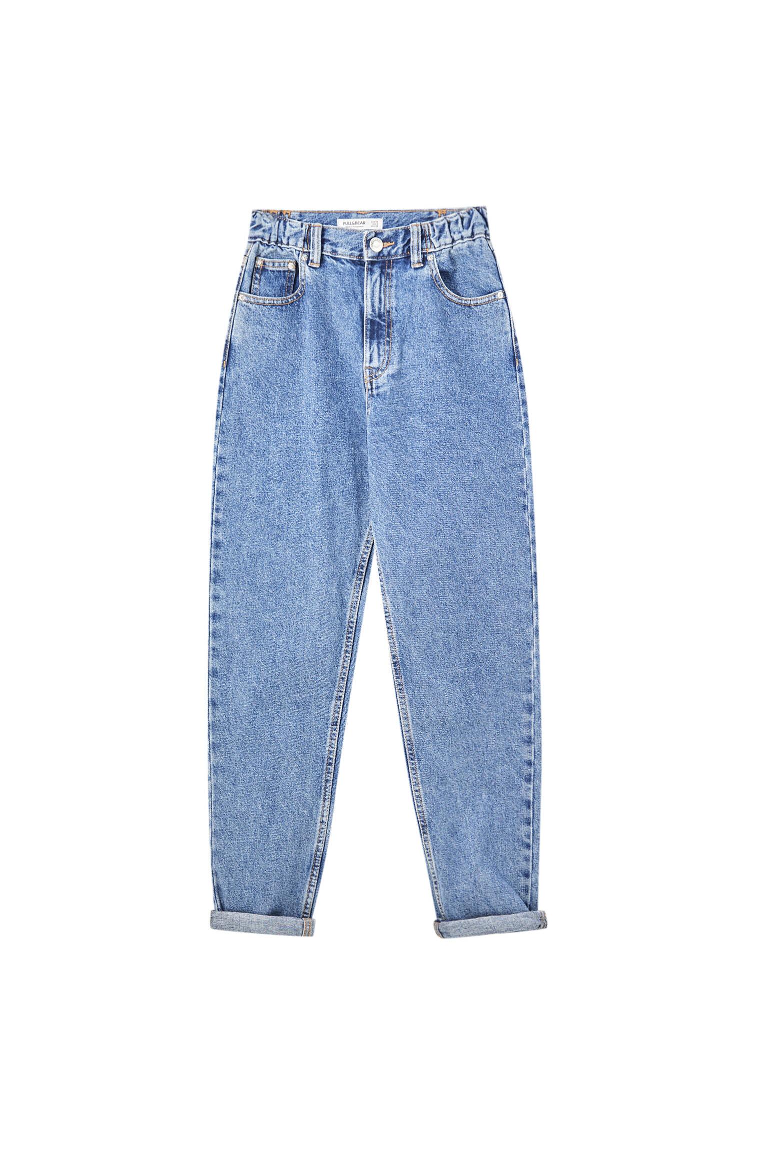 Синий Джинсы mom fit с эластичной талией Pull & Bear