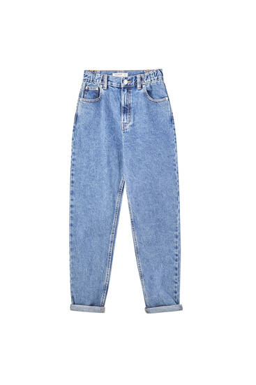 Mom fit jeans with elastic waistband
