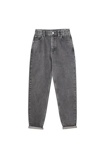 Jeans corte mom resorte cintura