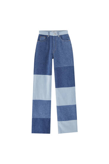 Wide-leg patchwork jeans - contains recycled cotton