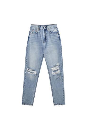 Jeans mom fit rotos pernera