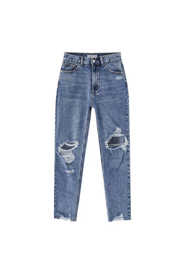 Jeans mom fit rotos rodilla