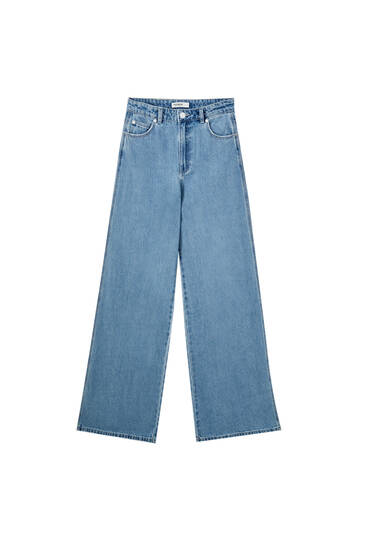 High waist wide-leg jeans - 100% ecologically grown cotton
