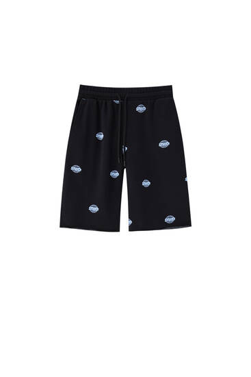 Jogging-style Bermuda shorts with STWD print
