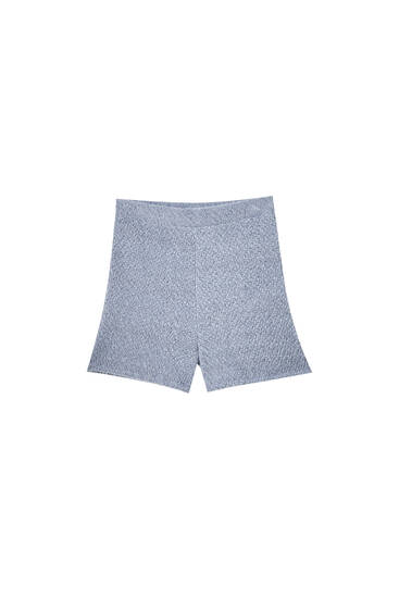 Blue soft-touch knit shorts