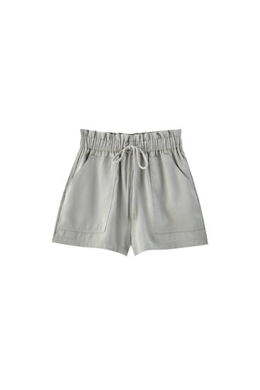 Basic wide rubber Bermuda shorts - Join Life viscose (at least 75%)