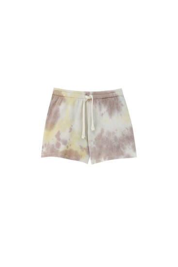 Tie-dye check texture shorts