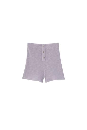 Mauve ribbed Bermuda shorts