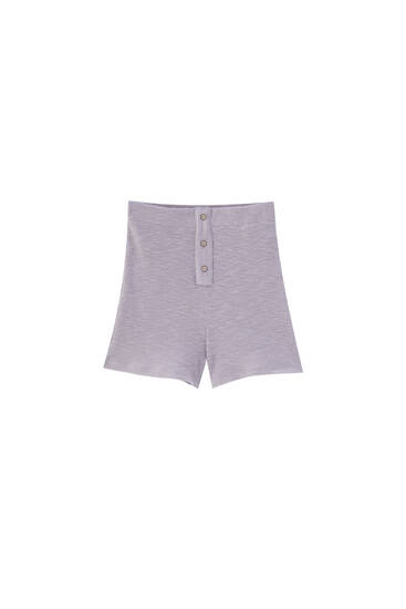 Mauve ribbed Bermuda shorts