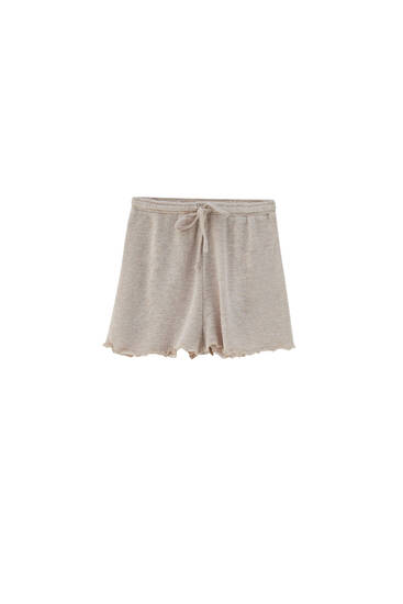 Drawstring shorts with lettuce-edge detail