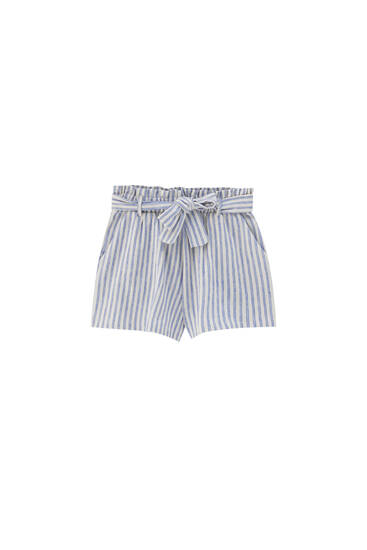 Striped Bermuda shorts with belt - ecologically grown cotton (at least 50%)
