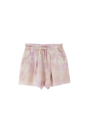 Rustic fabric tie-dye shorts