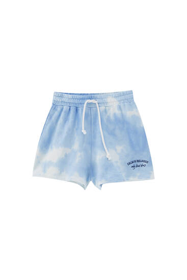 Blue tie-dye shorts with embroidery