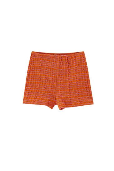Orange rustic fabric shorts