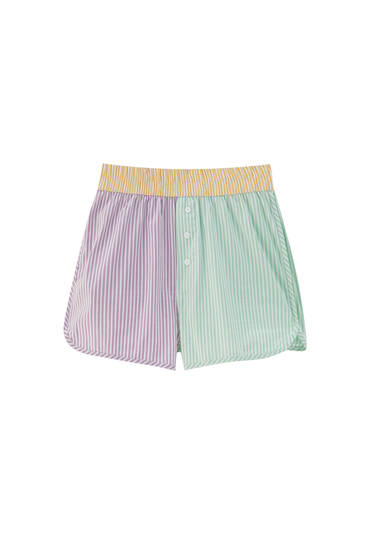 Striped patchwork shorts