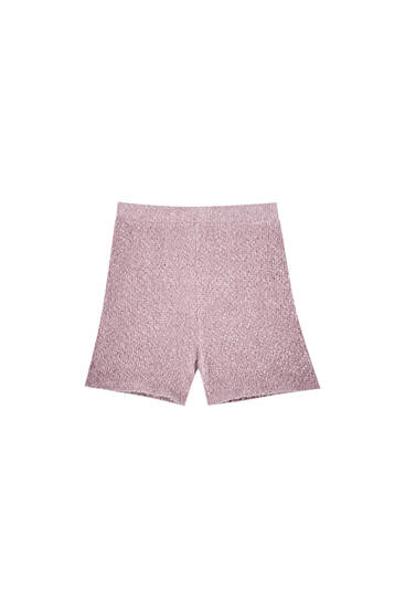 Pink soft-touch knit shorts